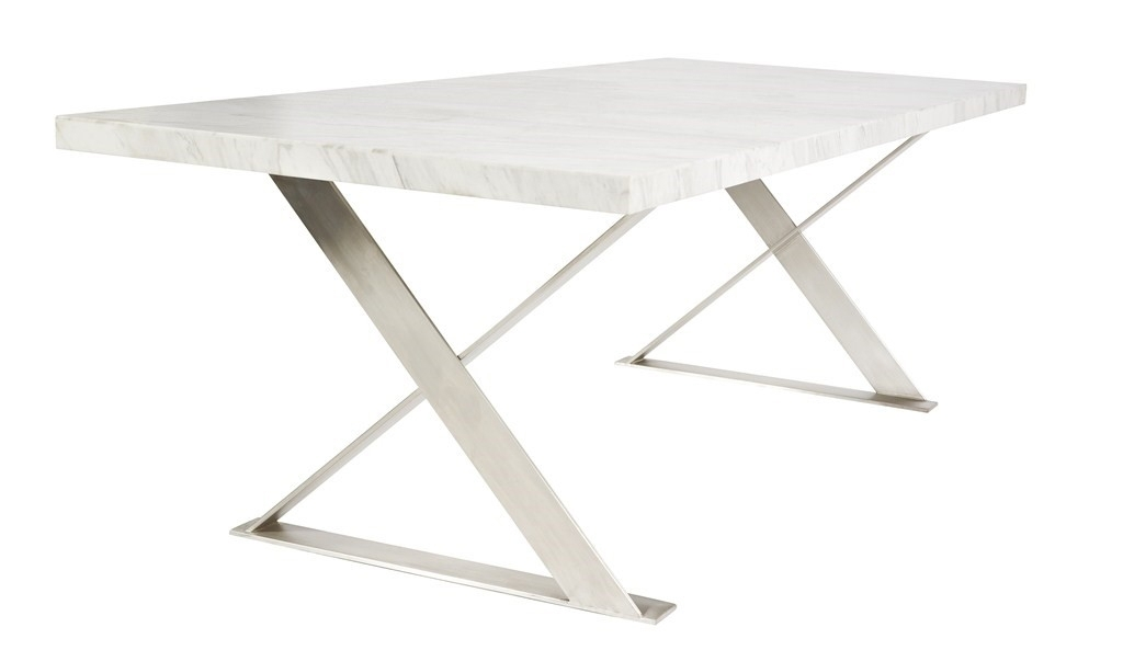 Lyn Marble Dining Table – Moss Furniture : Moss Furniture Regarding Brushed Steel Dining Tables (Image 15 of 25)