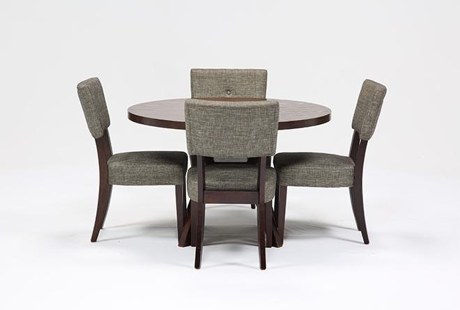 Macie 5 Piece Round Dining Set | Living Spaces In Combs 5 Piece 48 Inch Extension Dining Sets With Mindy Side Chairs (View 7 of 25)