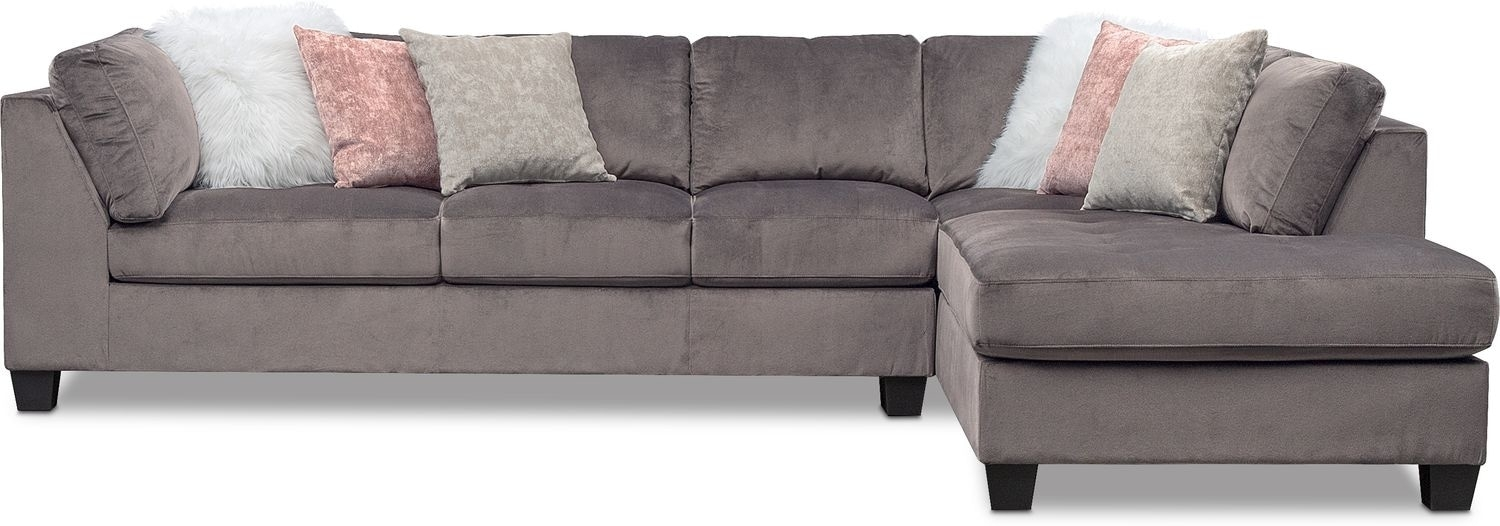 Mackenzie 2 Piece Sectional With Right Facing Chaise – Gray | Value For Glamour Ii 3 Piece Sectionals (Image 18 of 25)
