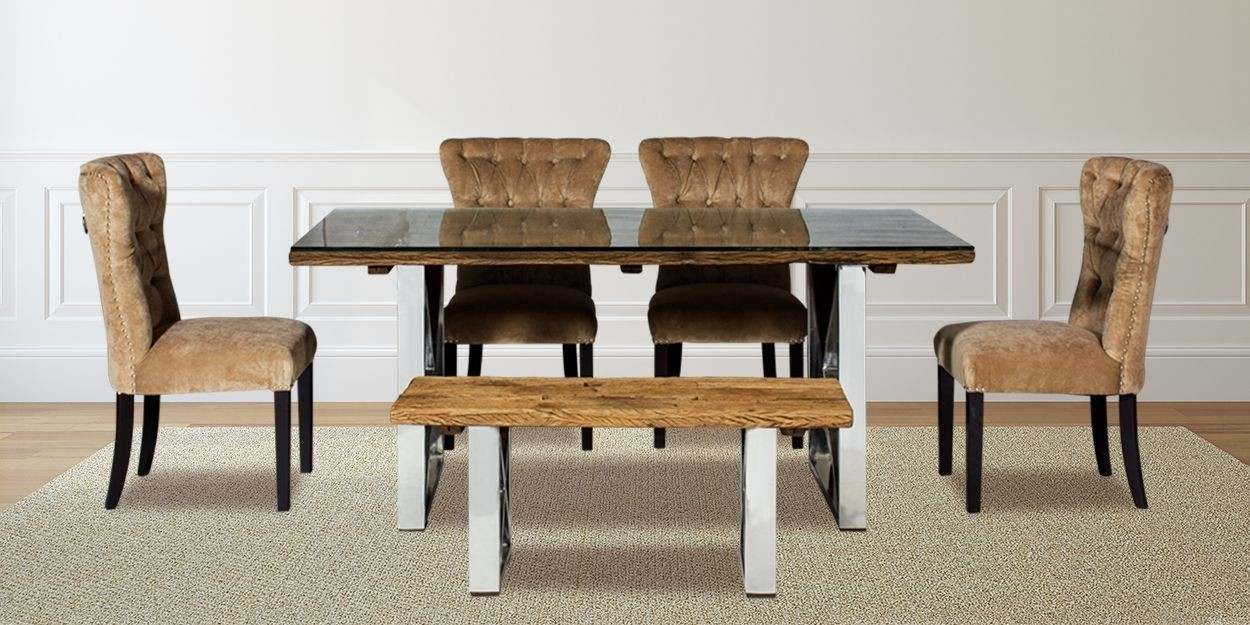 Madera 6 Seater Solid Wood Dining Table With Sillon Dining Chair Regarding 6 Seat Dining Tables And Chairs (View 18 of 25)