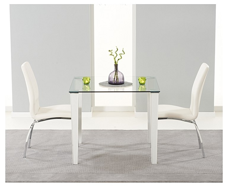 Madison 90Cm Clear Glass Dining Table With Cavello Chairs With Regard To Clear Glass Dining Tables And Chairs (Image 16 of 25)
