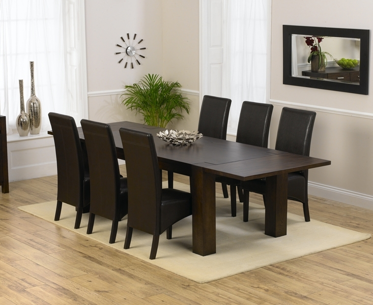 Madrid 200Cm Dark Solid Oak Extending Dining Table With Dakota Chairs Intended For Oak Dining Tables And 8 Chairs (Image 14 of 25)