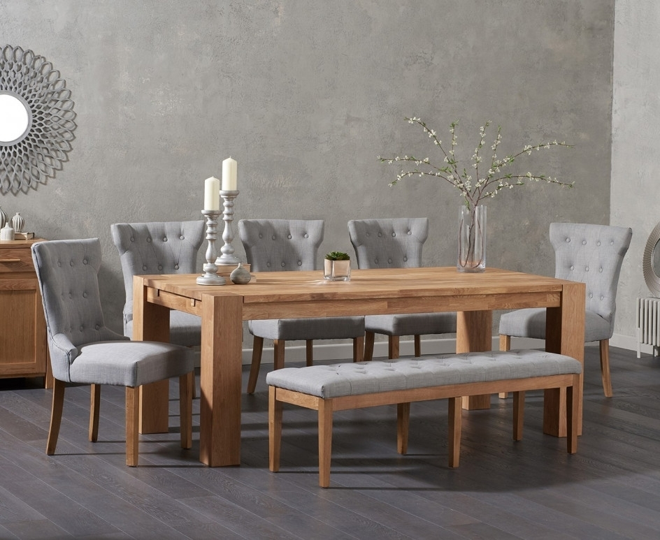 Madrid 200Cm Solid Oak Dining Table With Cora Fabric Chairs And Cora Intended For Cora Dining Tables (Image 21 of 25)