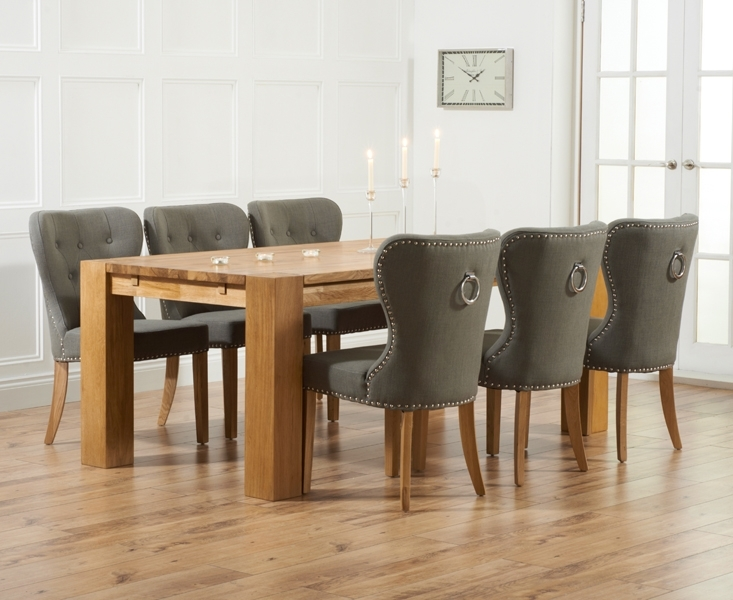 Madrid 200Cm Solid Oak Dining Table With Knightsbridge Chairs Inside Dining Tables And Fabric Chairs (Image 17 of 25)