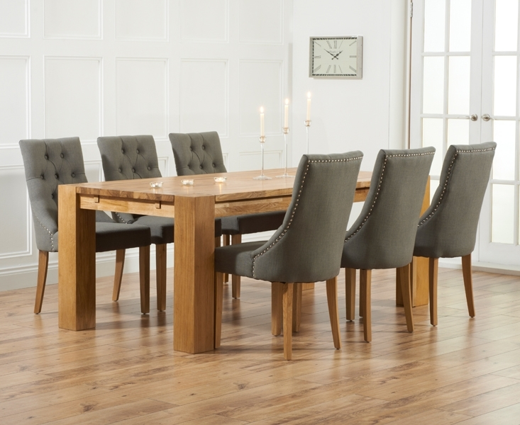 Madrid 200Cm Solid Oak Dining Table With Pacific Fabric Chairs Intended For Fabric Dining Room Chairs (Image 16 of 25)