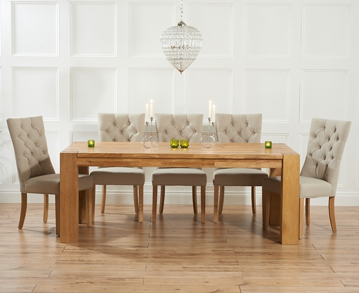 Madrid 240Cm Solid Oak Dining Table With Anais Fabric Chairs In Oak Fabric Dining Chairs (View 7 of 25)