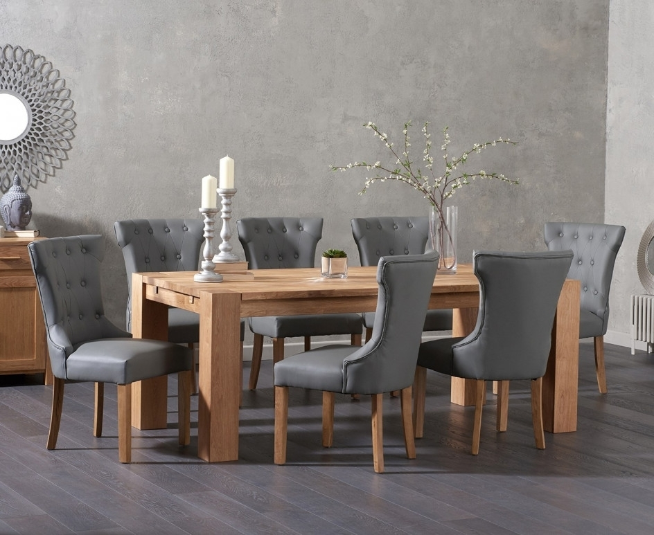 Madrid 240Cm Solid Oak Dining Table With Cora Grey Faux Leather Throughout Oak Dining Tables And Leather Chairs (Image 9 of 25)