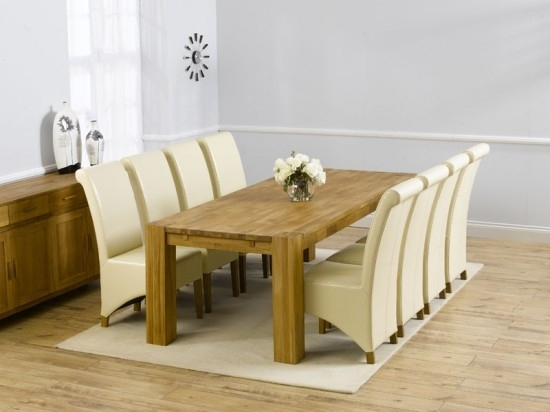 Madrid 300Cm Solid Oak Extending Dining Table + 8 Barcelona Leather In Oak Dining Tables And Leather Chairs (Image 10 of 25)