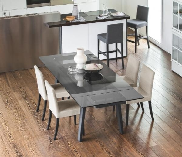 Maestro Smoke Grey Extending Dining Table With Graphite Legs – Style With Regard To Grey Glass Dining Tables (Image 17 of 25)