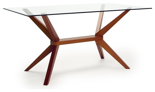 Magna Glass Dining Table – Midcentury – Dining Tables  Inmod Regarding Glass Dining Tables With Wooden Legs (Image 18 of 25)