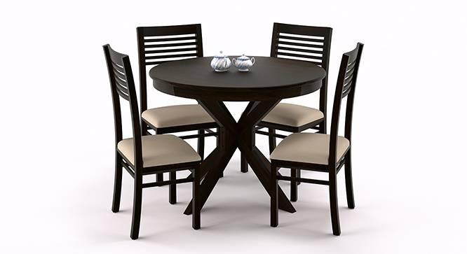Magnificent Dining Table Set 4 Seater Luxurious Four And Chairs On Pertaining To Circular Dining Tables For  (Image 14 of 25)