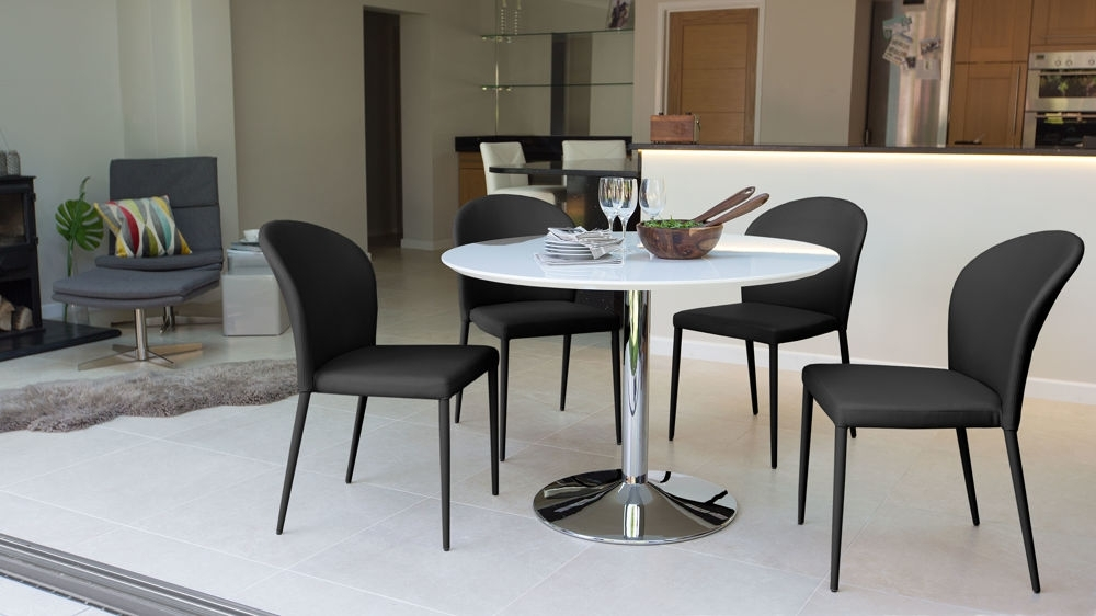 Magnificent Round Modern White Gloss Dining Table Stylish Trumpet Throughout Small Round White Dining Tables (Image 7 of 25)