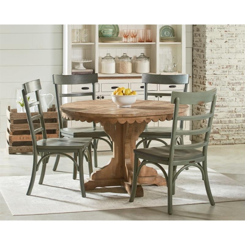 Magnolia Home Dining Tables Farmhouse 6010601S Top Tier Pedestal Within Magnolia Home Top Tier Round Dining Tables (Image 13 of 25)