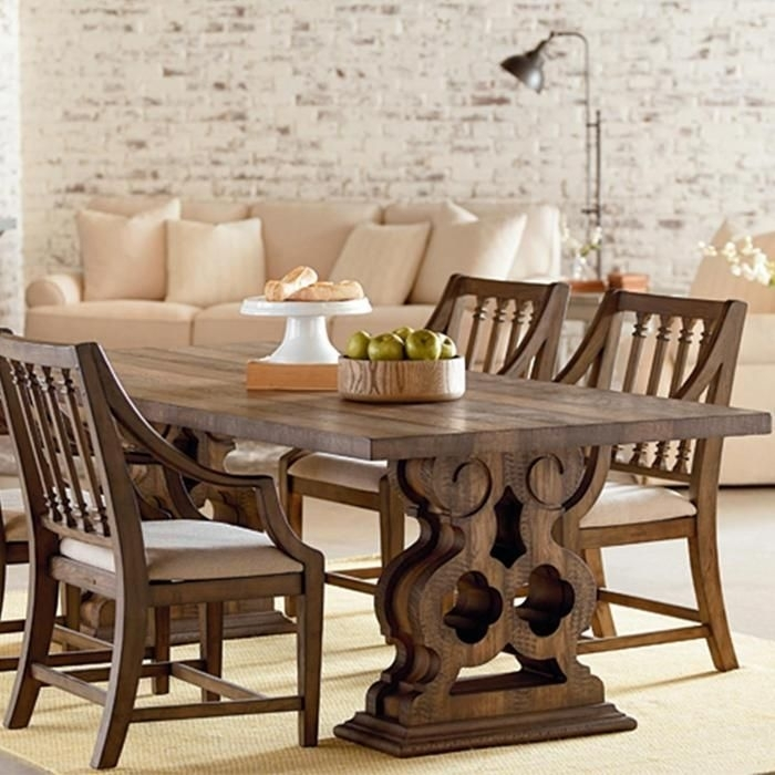 Magnolia Home Traditional Double Pedestal Table In Shop Floor Pertaining To Magnolia Home Shop Floor Dining Tables With Iron Trestle (Image 18 of 25)