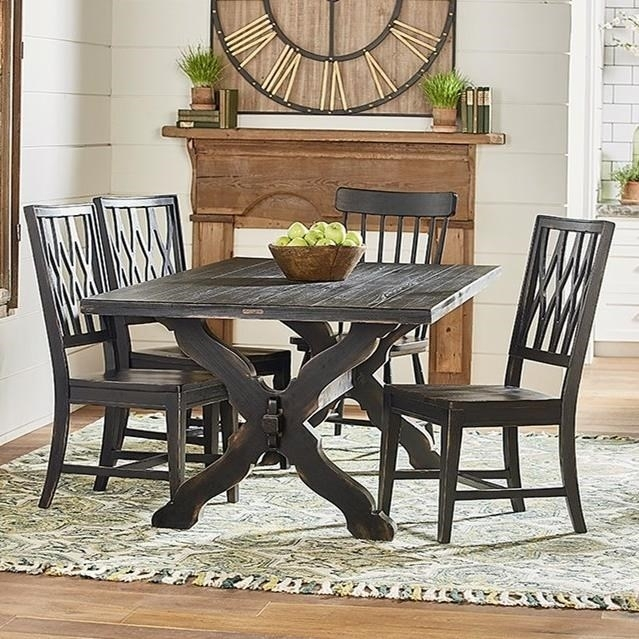 Magnolia Homejoanna Gaines Primitive Rustic Trestle Table And Throughout Magnolia Home Sawbuck Dining Tables (View 1 of 25)