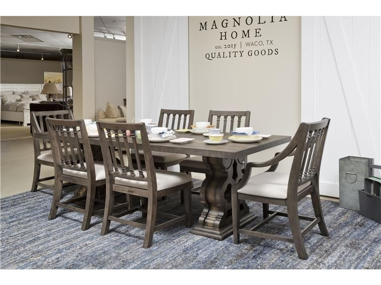 Magnolia Iron Trestle Table Traditional Home | Dining Room Magnolia Within Magnolia Home Double Pedestal Dining Tables (Image 21 of 25)
