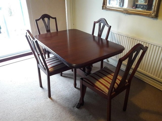 Mahogany Dining Table And 4 Chairs For Sale In Leicester Within Mahogany Dining Tables And 4 Chairs (Image 15 of 25)