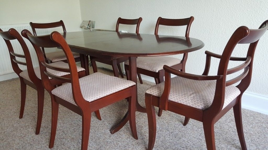 Mahogany Extendable Dining Table & 6 Chairs | In Knightswood With Extendable Dining Table And 6 Chairs (Image 21 of 25)