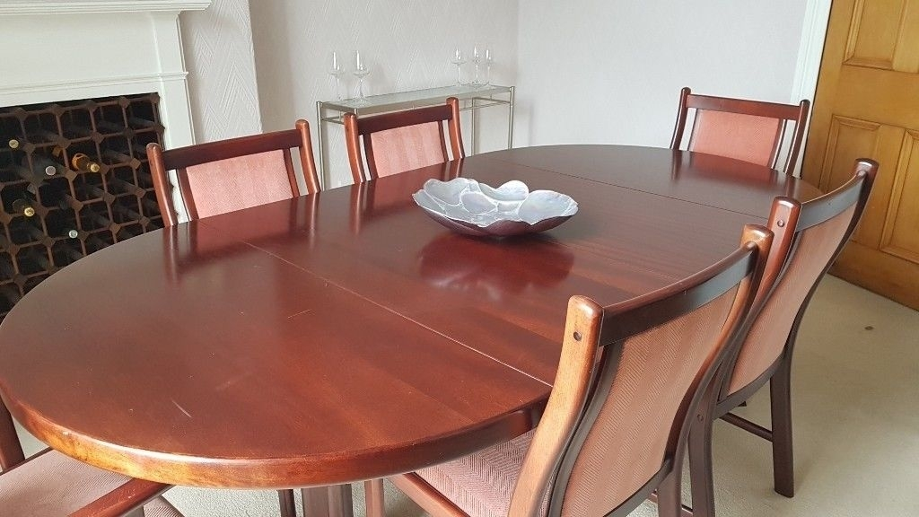 Mahogany Extending Dining Table With 4 Chairs Amd 2 Carvers | In For Mahogany Extending Dining Tables (Image 14 of 25)