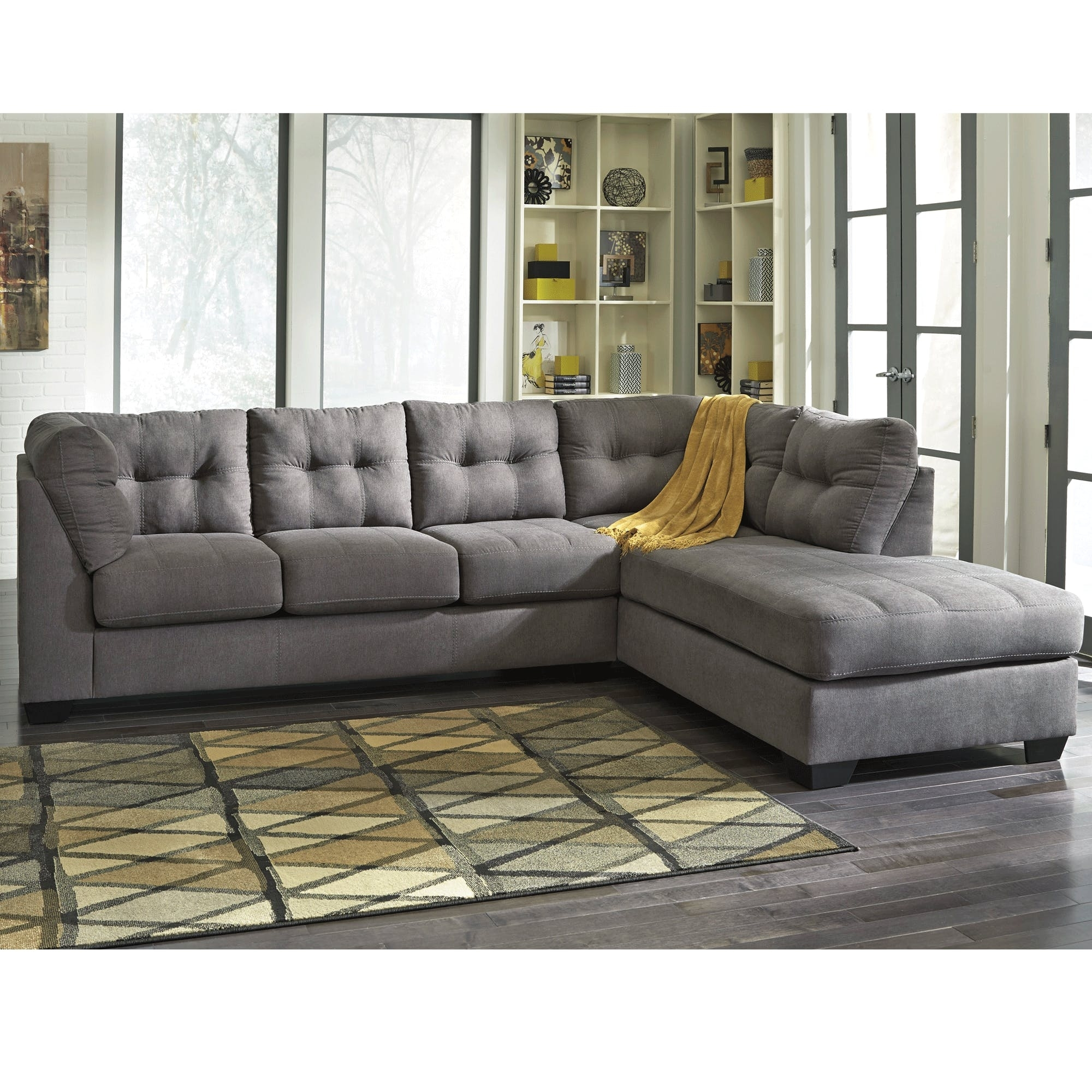 Maier Charcoal 2 Piece Sectional – Bernie & Phyl's Furniture – In Cosmos Grey 2 Piece Sectionals With Laf Chaise (Image 16 of 25)