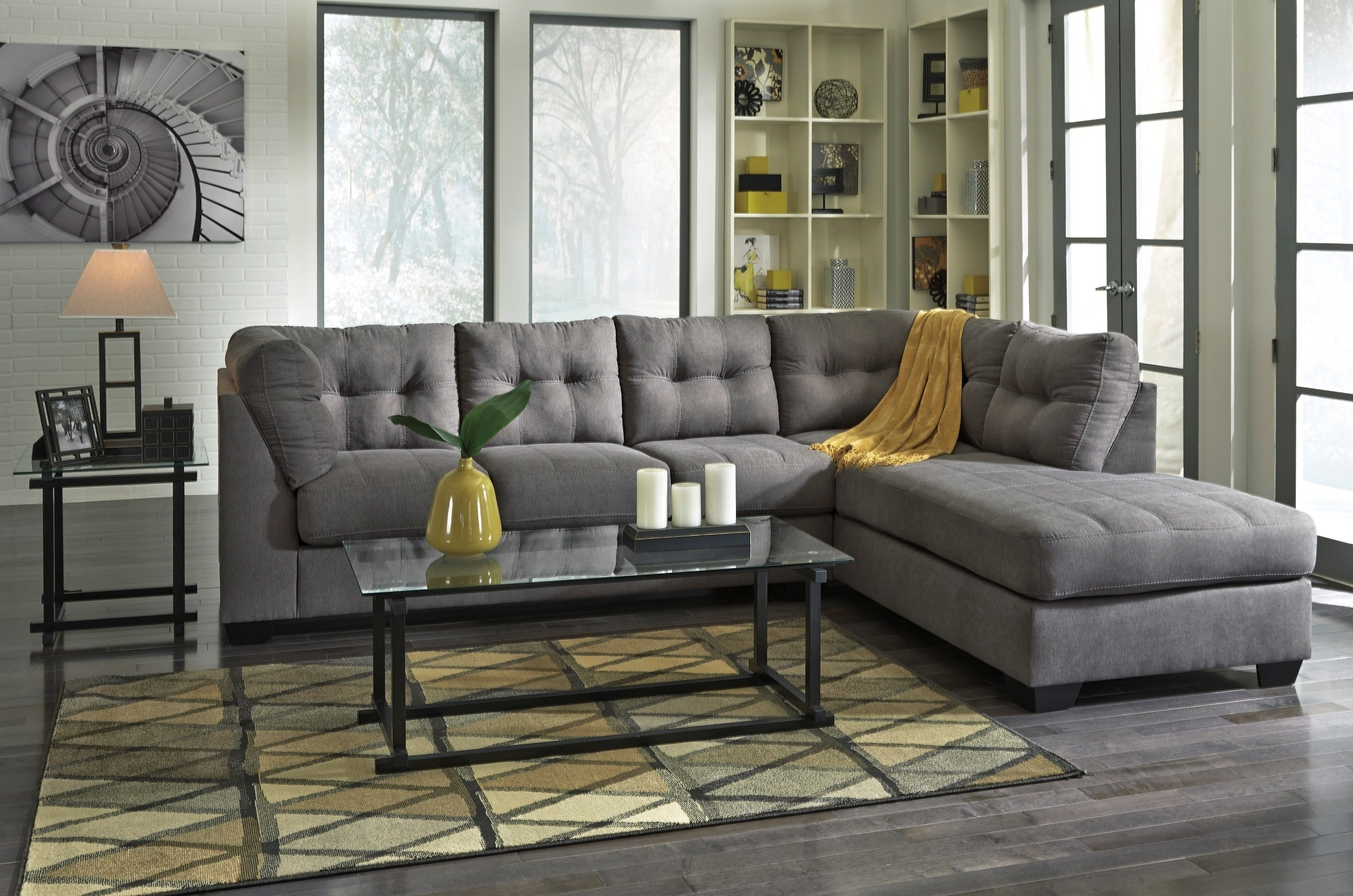 Maier Charcoal Raf Sectional From Ashley (45200 17 66) | Coleman With Meyer 3 Piece Sectionals With Laf Chaise (Image 15 of 25)