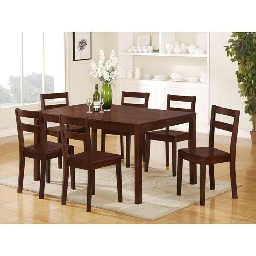 Mainstays Parsons 7 Piece Dining Set, Espresso $339 | Home Sweet Intended For Candice Ii 6 Piece Extension Rectangle Dining Sets (Image 12 of 25)