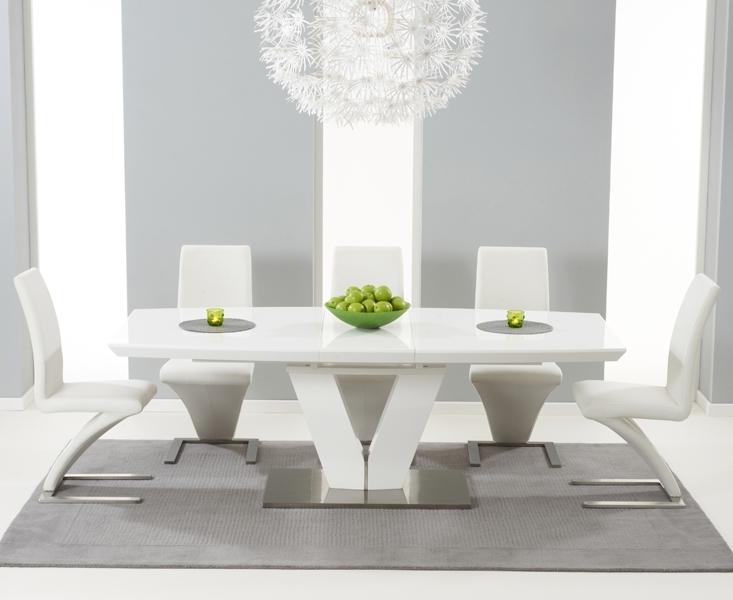 Malaga 180Cm White High Gloss Extending Dining Table With Hampstead With High Gloss Dining Tables Sets (Image 17 of 25)