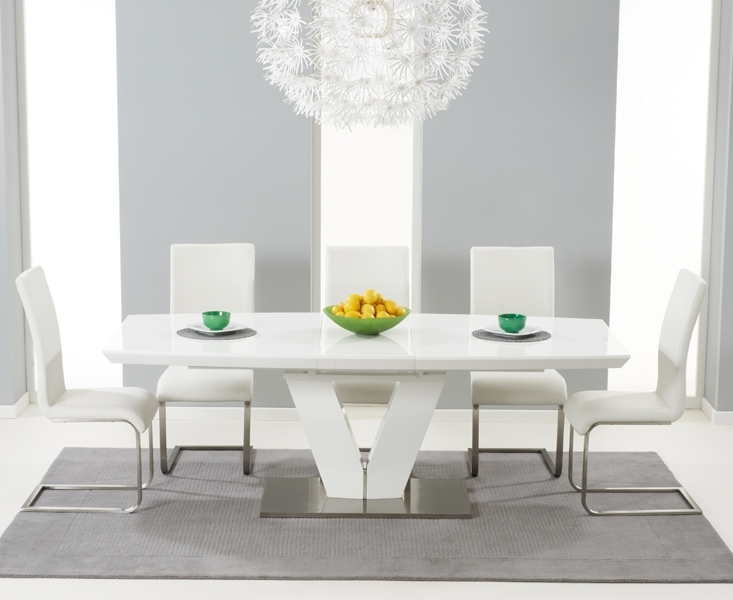 Malaga 180Cm White High Gloss Extending Dining Table With Malaga Chairs Inside Black Extendable Dining Tables Sets (View 11 of 25)