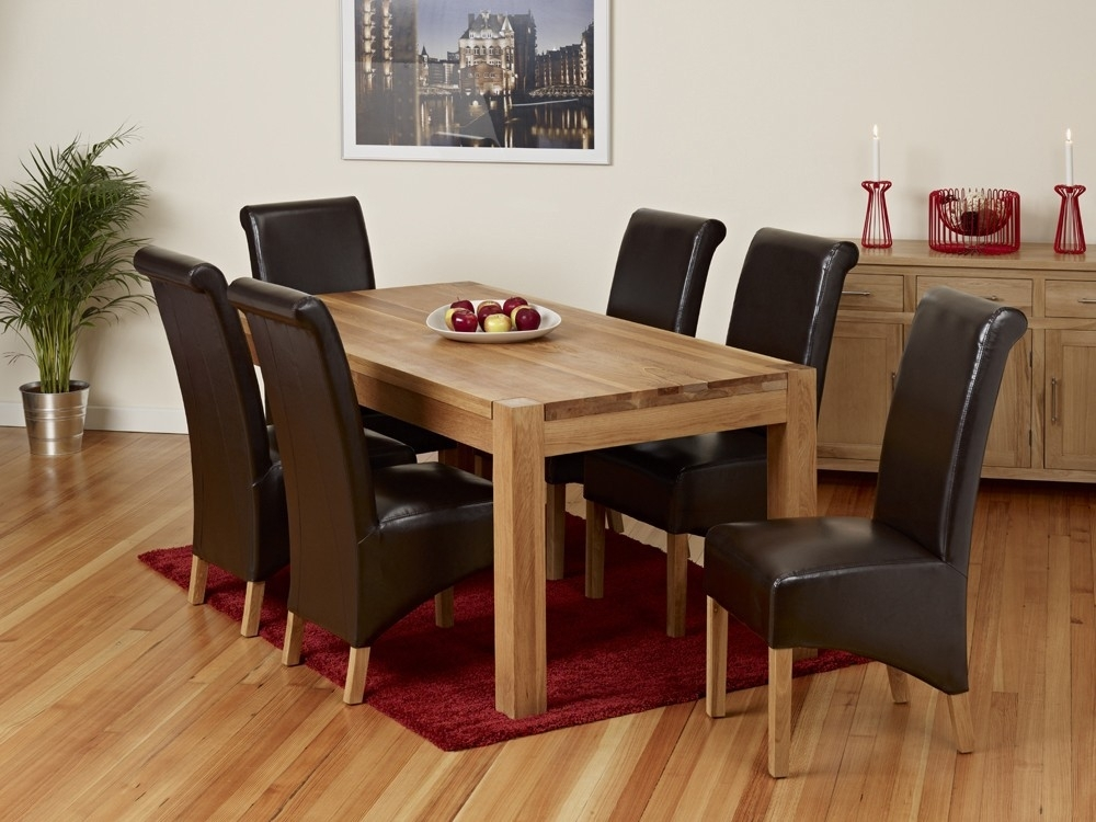 Malaysian Wood Dining Table Sets Oak Dining Room Furniture Velvet Intended For Oak Dining Tables And Leather Chairs (Image 11 of 25)