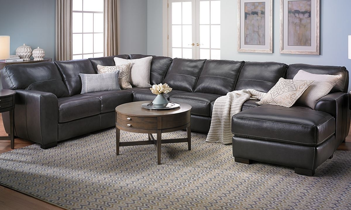 Malcolm Italian Leather Sectional With Chaise | The Dump Luxe Regarding Norfolk Grey 6 Piece Sectionals With Raf Chaise (Image 13 of 25)