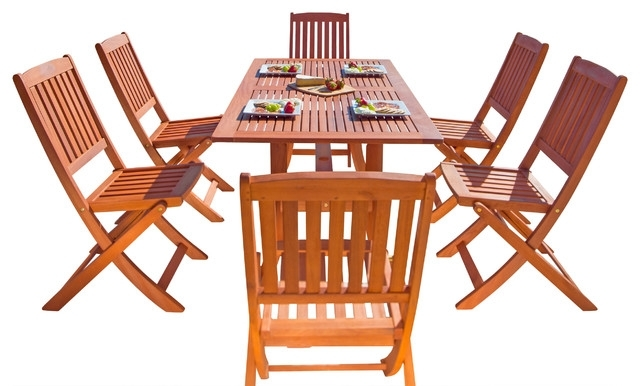 Malibu Eco Friendly 7 Piece Wood Outdoor Dining Set With Foldable Intended For Cora 7 Piece Dining Sets (Image 18 of 25)