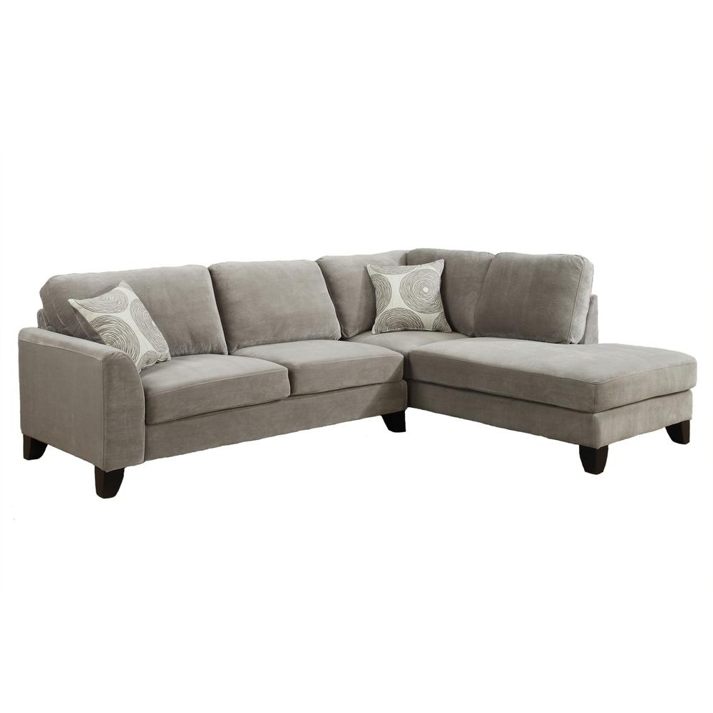 Malibu Soft Microfiber 2 Piece Sectional In Dove Gray 01 33C 13 608 With Karen 3 Piece Sectionals (View 6 of 25)