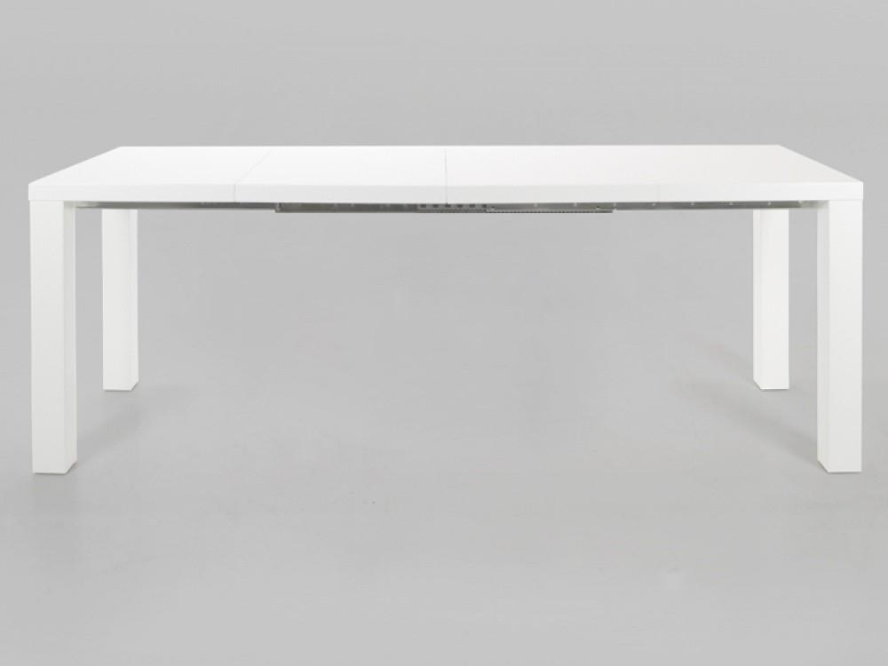 Malibu White High Gloss Extending Dining Table With Black Gloss Extending Dining Tables (Image 11 of 25)