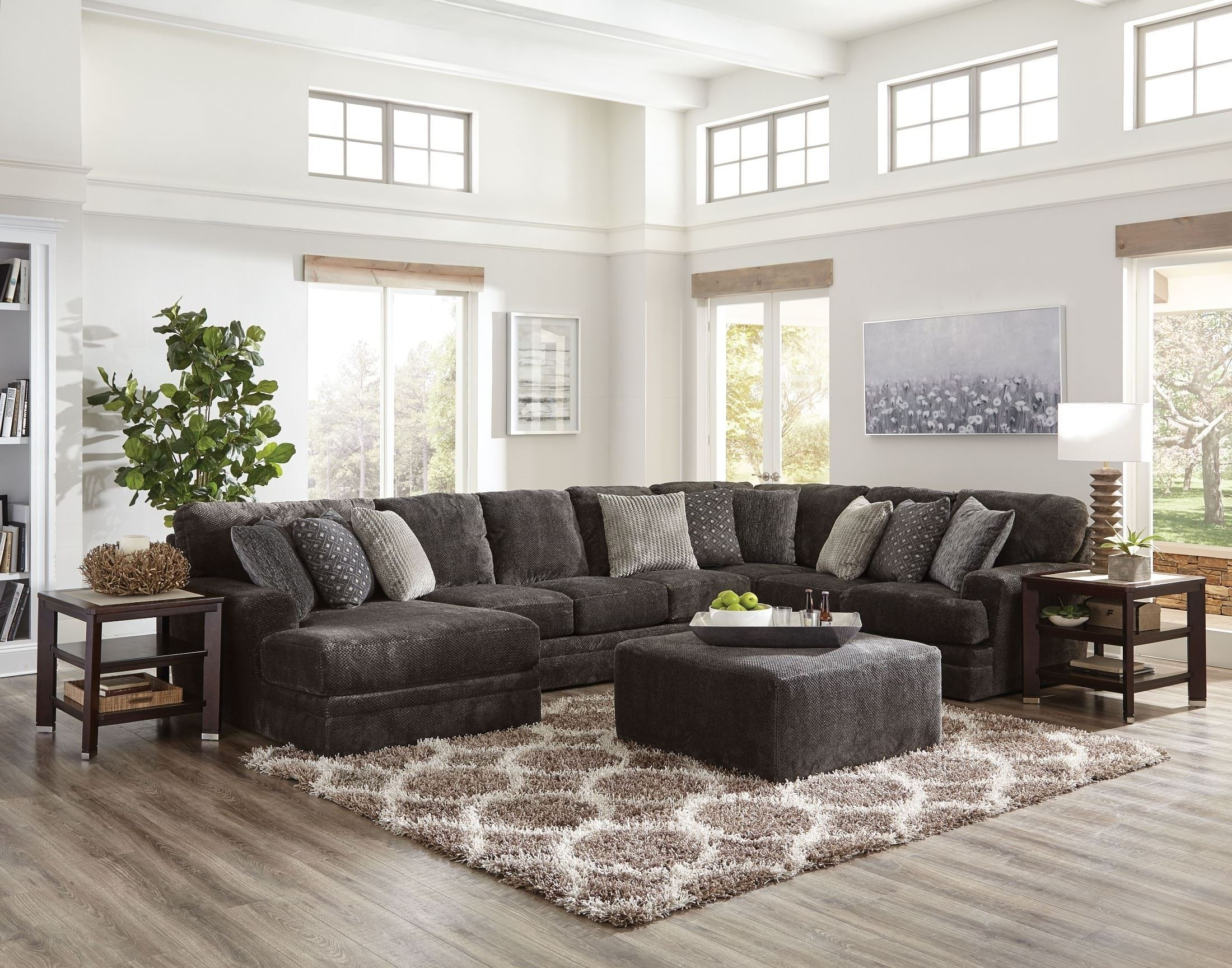 Mammoth Smoke Laf Chaise Sectional From Jackson | Coleman Furniture Inside Avery 2 Piece Sectionals With Raf Armless Chaise (Image 19 of 25)