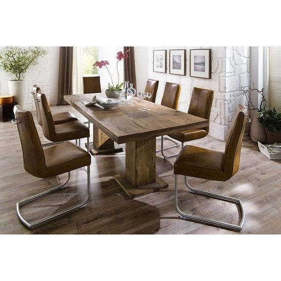 Mancinni 8 Seater Dining Table In 220Cm With Flair Dining Chairs Intended For 8 Seat Dining Tables (Image 21 of 25)