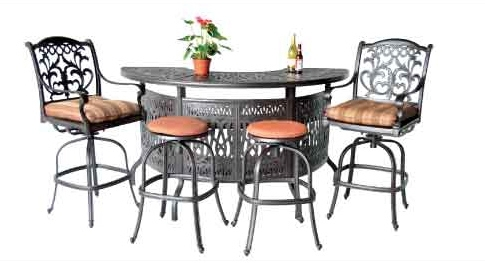 Mandalay Half Moon Party Bar Set Patio Land Outdoor Living In Half Moon Dining Table Sets (Image 23 of 25)