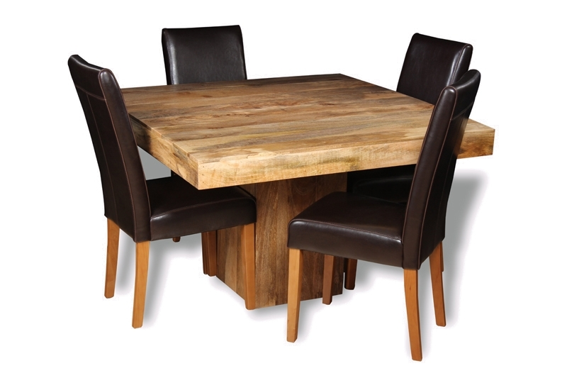 Mango 120Cm Cube Dining Table & 4 Barcelona Chairs | Trade Furniture For Cube Dining Tables (Image 18 of 25)