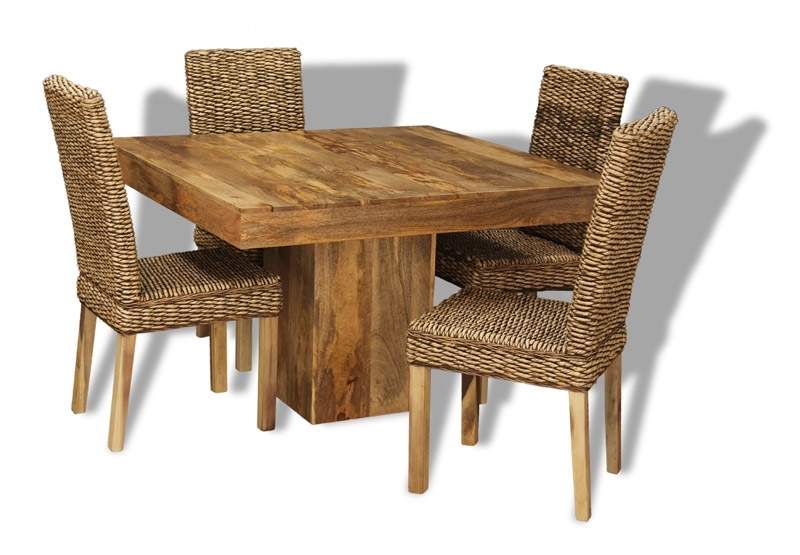 Mango 120Cm Cube Dining Table & 4 Rattan Chairs | Trade Furniture With Regard To Cube Dining Tables (View 11 of 25)
