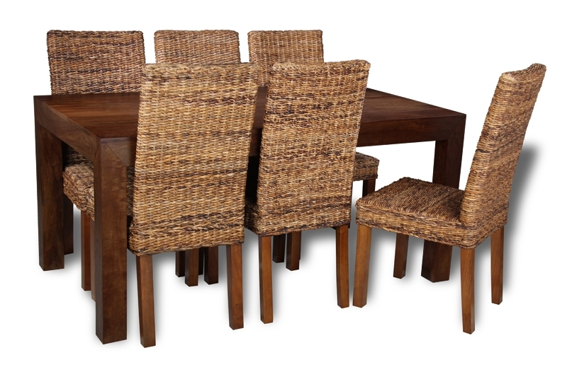 Mango Wood Table Dining Set With 6 Rattan Chairs With Regard To Havana Dining Tables (Image 19 of 25)