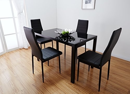Mansy General Store Black Glass Dining Table Set With 4 Faux Leather For Glass Dining Tables And Leather Chairs (View 23 of 25)