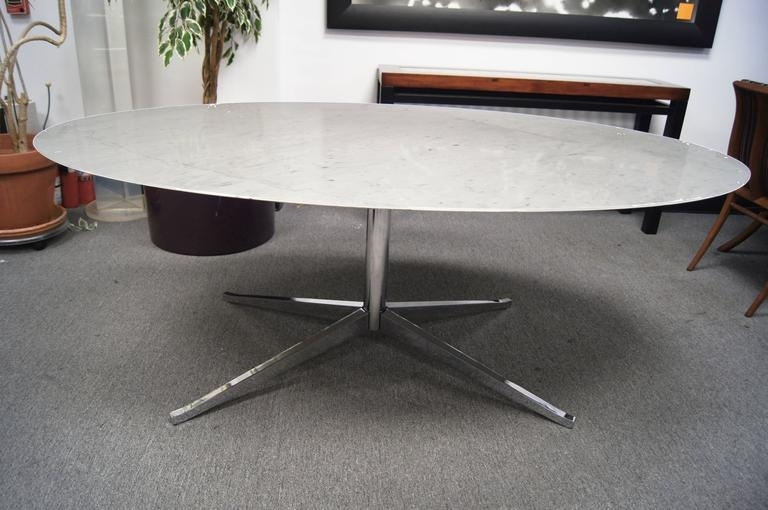 Marble And Chrome Oval Conference Or Dining Tableflorence Knoll With Regard To Florence Dining Tables (Image 21 of 25)