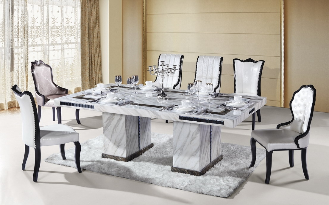 Marble Dining Furniture: Gives Exotic Look To Your Home Inside White Dining Suites (Image 19 of 25)