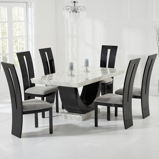 Marble Dining Table And Chairs Uk | Furniture In Fashion Inside Marble Effect Dining Tables And Chairs (View 7 of 25)