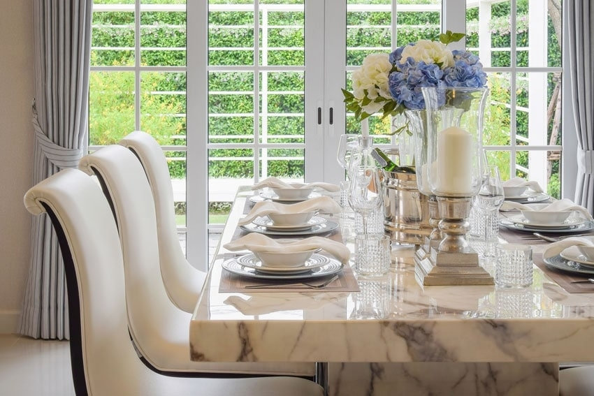 Marble Dining Table Designs, Pros And Cons, Costs And Tips – Sefa Stone Throughout Dining Tables (Image 18 of 25)