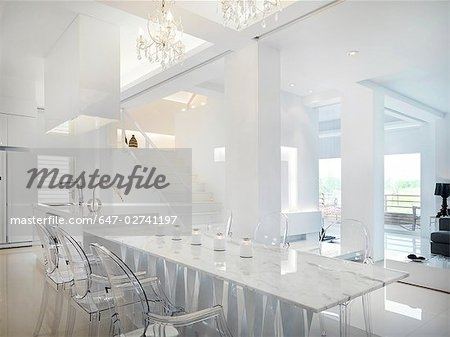 Marble Dining Table With Clear Plastic Chairs – Stock Photo In Clear Plastic Dining Tables (Image 18 of 25)