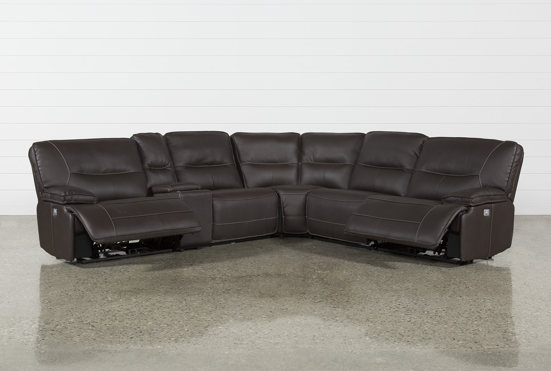 Featured Image of Marcus Chocolate 6 Piece Sectionals With Power Headrest And Usb