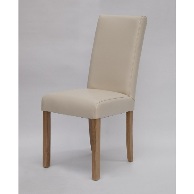 Marianna Cream Leather Dining Chair With Solid Oak Legs (Image 17 of 25)
