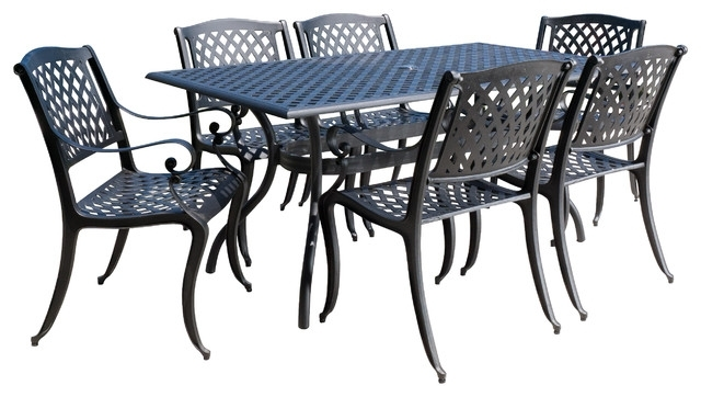 Marietta Outdoor Cast Aluminum Black Sand Dining 7 Piece Set Throughout Outdoor Dining Table And Chairs Sets (Image 14 of 25)