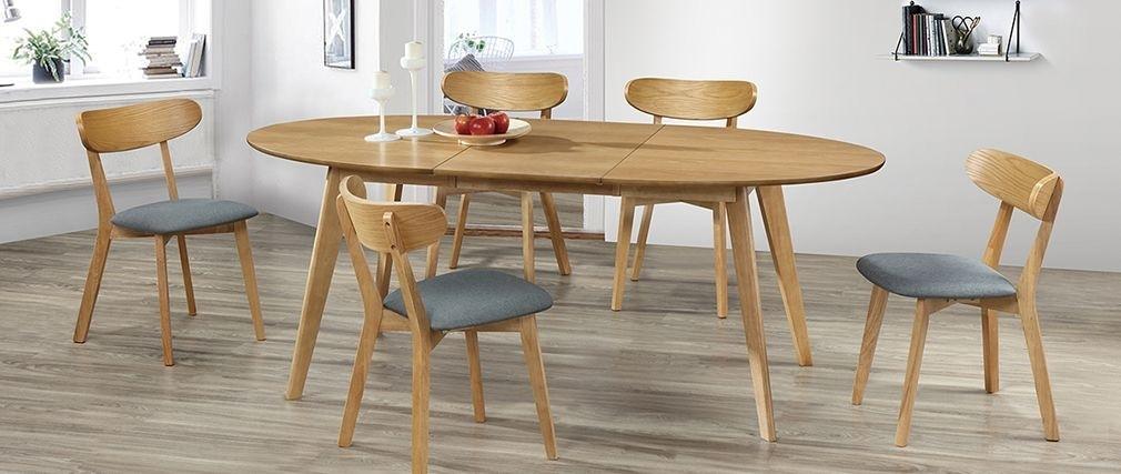 Marik Designer Extending Oak Dining Table – Miliboo For Extending Oak Dining Tables (View 17 of 25)