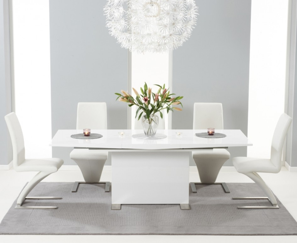 Marila 150Cm White High Gloss Dining Table With 6 Hereford White Pertaining To White 8 Seater Dining Tables (View 19 of 25)